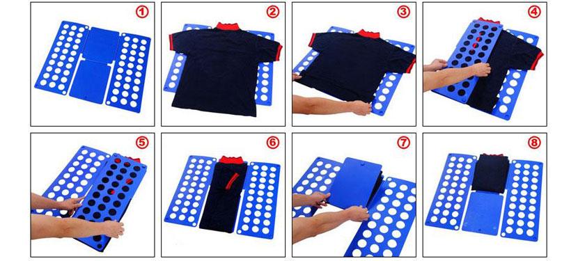 Изображение со схемой для складывания футболки с помощью картона